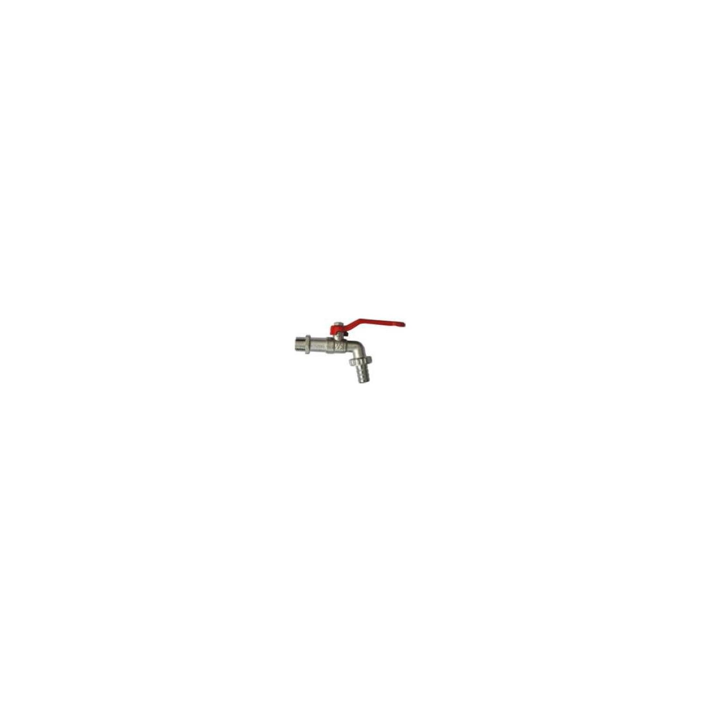 Robinet de puisage nickelé à sphère, poignée acier rouge, 1'x1'1/4 - Tétine Ø26