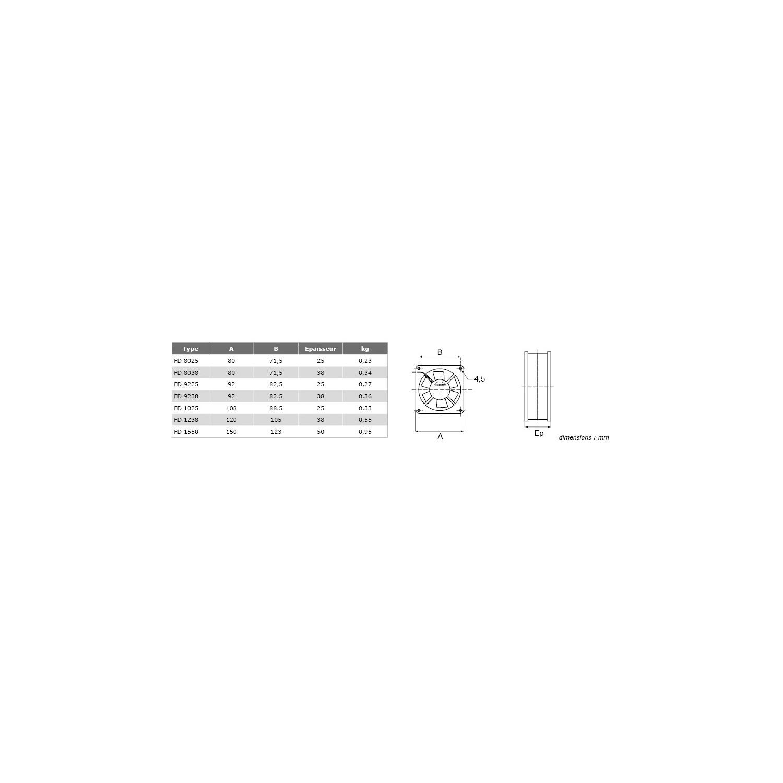 Ventilateur axial silencieux FD Carré 80x38